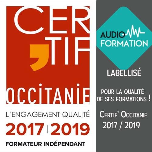 Label Certif' Occitanie pour Auidio-Formation